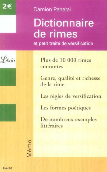 DICTIONNAIRE DE RIMES - ET PETIT TRAITE DE VERSIFICATION