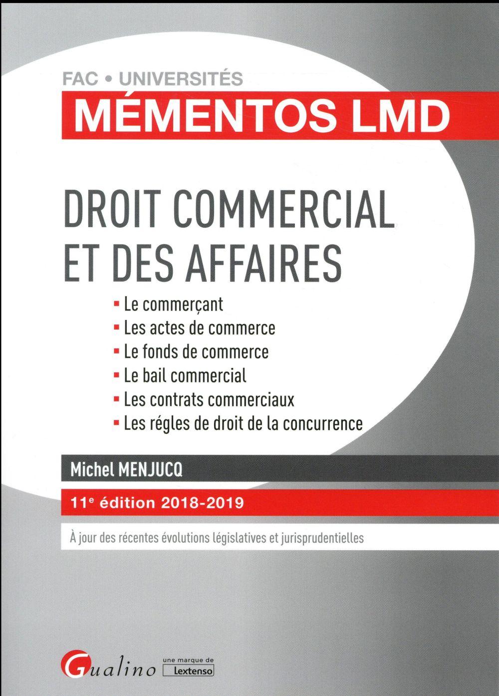 DROIT COMMERCIAL ET DES AFFAIRES 11EME EDITION