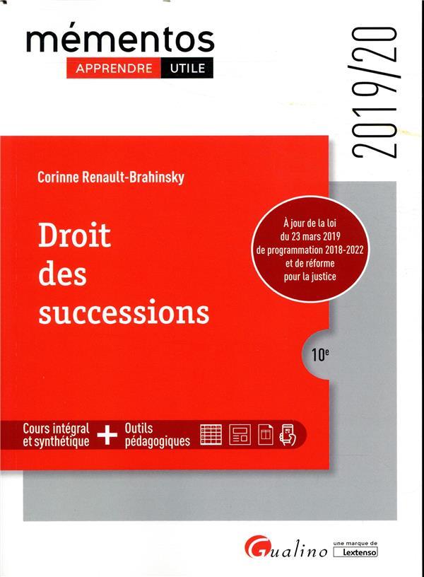 DROIT DES SUCCESSIONS, 10EME EDITION - 2019/20