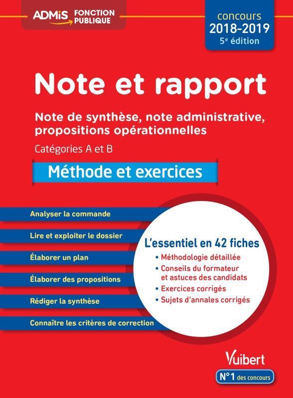 NOTE ET RAPPORT METHODE ET EXERCICES CATEGORIES A ET B ESSENTIEL EN 42 FICHES