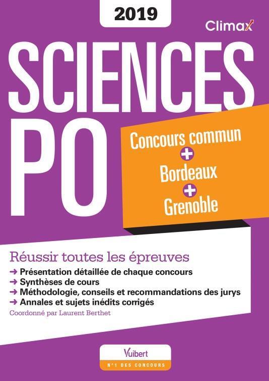SCIENCES PO CONCOURS 2019 COMMUN BORDEAUX GRENOBLE