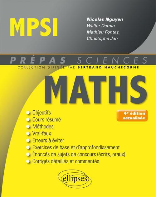 MATHEMATIQUES MPSI 4EME EDITION ACTUALISEE