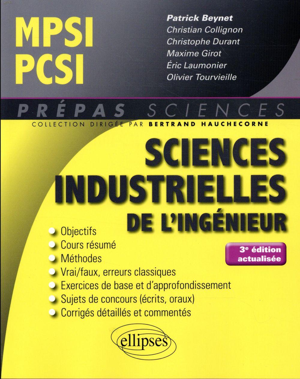 SCIENCES INDISTRUELLES DE L'INGEGNIEUR MPSI-PCSI 3EME EDITION ACTUALISEE