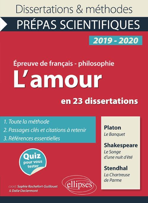 L'AMOUR 23 DISSERTATIONS PLATON LE BANQUET SHAKESPEARE SONGE NUIT D'ETE STENDHAL CHARTREUSE DE PARME