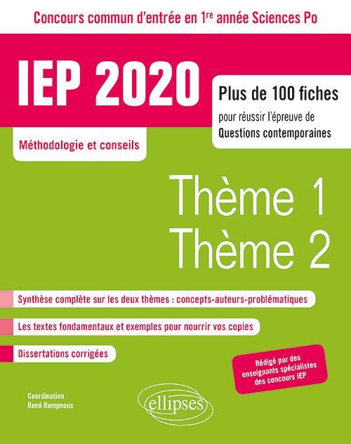 CONCOURS COMMUN IEP 2020. PLUS DE 100 FICHES POUR REUSSIR L'EPREUVE DE QUESTIONS CONTEMPORAINES - EN