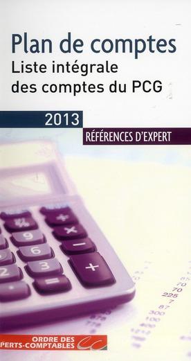 PLAN DE COMPTES 2013. LISTE INTEGRALE DES COMPTES