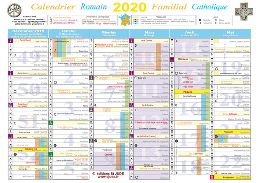 CALENDRIER FAMILIAL CATHOLIQUE  2020 - A4