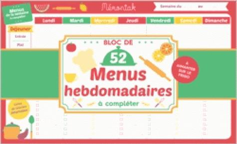 BLOC DE MENUS A COMPLETER MEMONIAK 2019