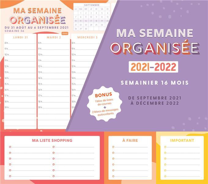 MA SEMAINE ORGANISEE 2021-2022