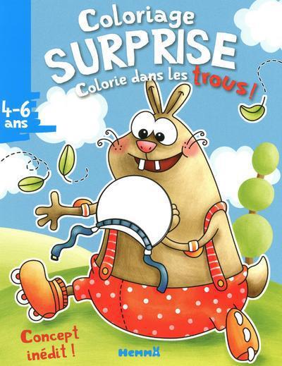 COLORIAGE SURPRISE - COLORIE DANS LES TROUS ! 4-6ANS (LAPIN)