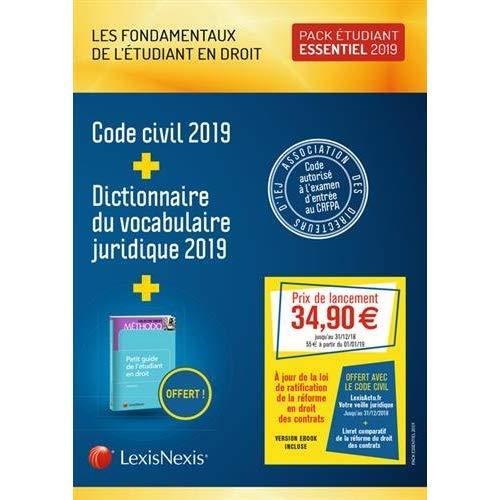 PACK ETUDIANT ESSENTIEL 2019 : CODE CIVIL 2019 + DICTIONNAIRE DU VOCABULAIRE JUR