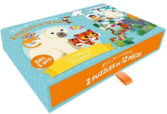 P'TIT JEU DE PUZZLE - 2 PUZZLES DE 12 PIECES - LES ANIMAUX DU MONDE !