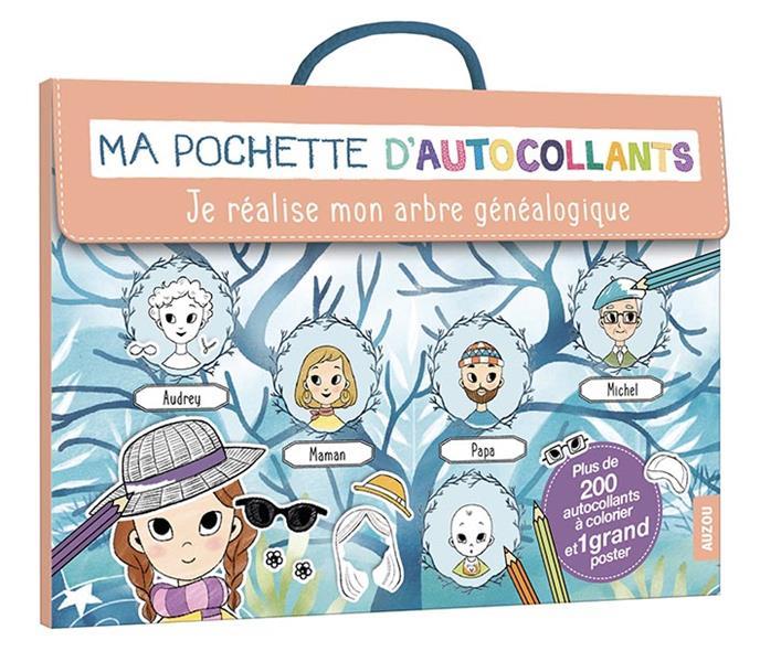 MA POCHETTE D'AUTOCOLLANTS - JE REALISE MON ARBRE GENEALOGIQUE - PLUS DE 200 AUTOCOLLANTS A COLORIER