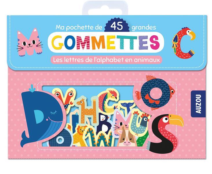 MA POCHETTE DE 45 GRANDES GOMMETTES - LES LETTRES DE L'ALPHABET EN ANIMAUX