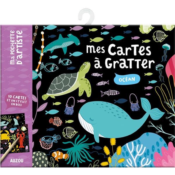 MES CARTES A GRATTER - OCEAN - 10 CARTES ET UN STYLET EN BOIS