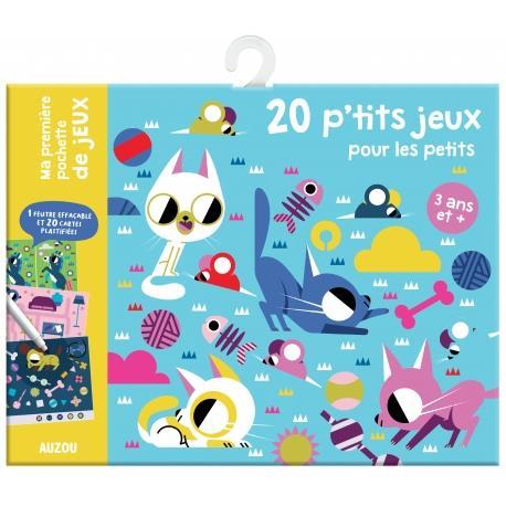 MA PREMIERE POCHETTE DE JEUX - 20 P'TITS JEUX POUR LES PETITS - 1 FEUTRE EFFACABLE ET 20 CARTES PLAS