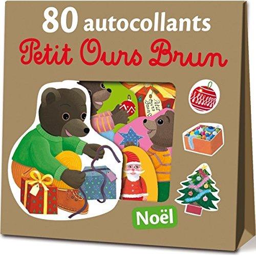 80 AUTOCOLLANTS PETIT OURS BRUN - NOEL