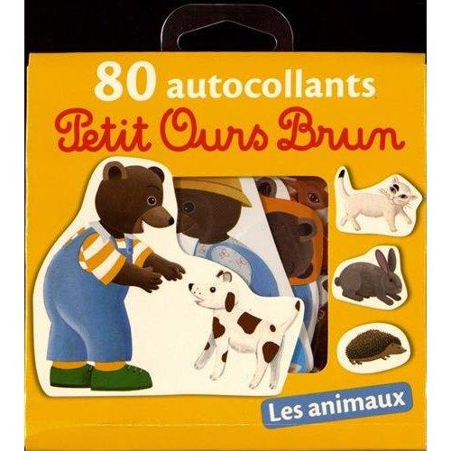 80 AUTOCOLLANTS PETIT OURS BRUN - ANIMAUX - NE