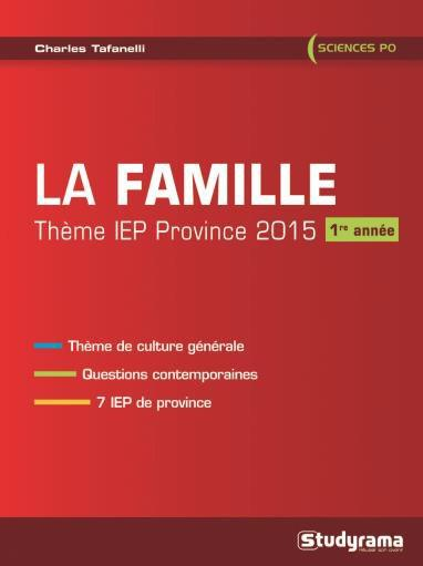 FAMILLE THEME IEP PROVINCE 2015 1ERE ANNEE