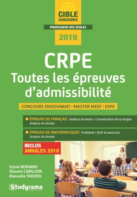 CRPE TOUTES LES EPREUVES D'ADMISSIBILITE 2019
