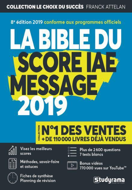 BIBLE DU SCORE IAE MESSAGE 2019 (LA) 8ED