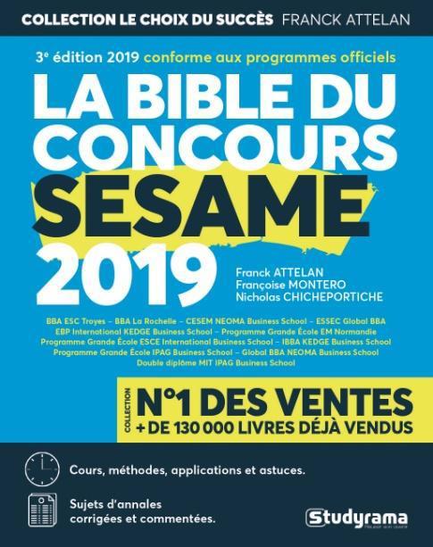 BIBLE DU CONCOURS SESAME 2019 (LA)