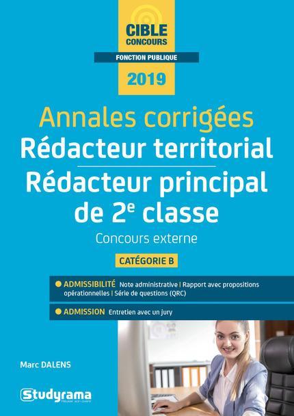 ANNALES CORRIGEES REDACTEUR TERRITORIAL REDACTEUR PRINCIPAL DE 2E CLASSE 2019
