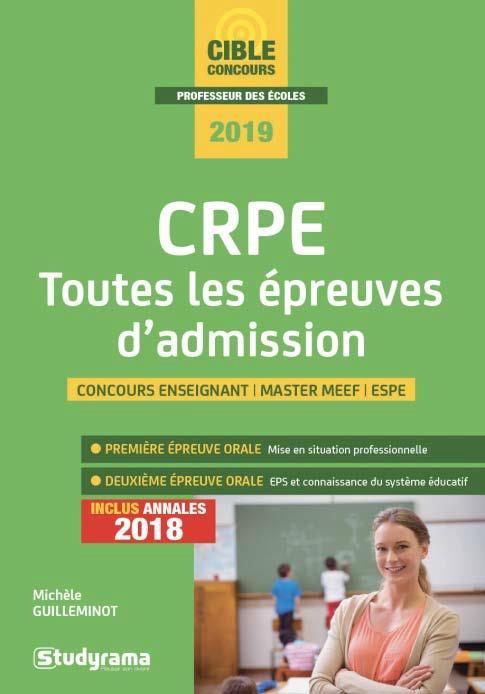 CRPE TOUTES LES EPREUVES D'ADMISSION 2019