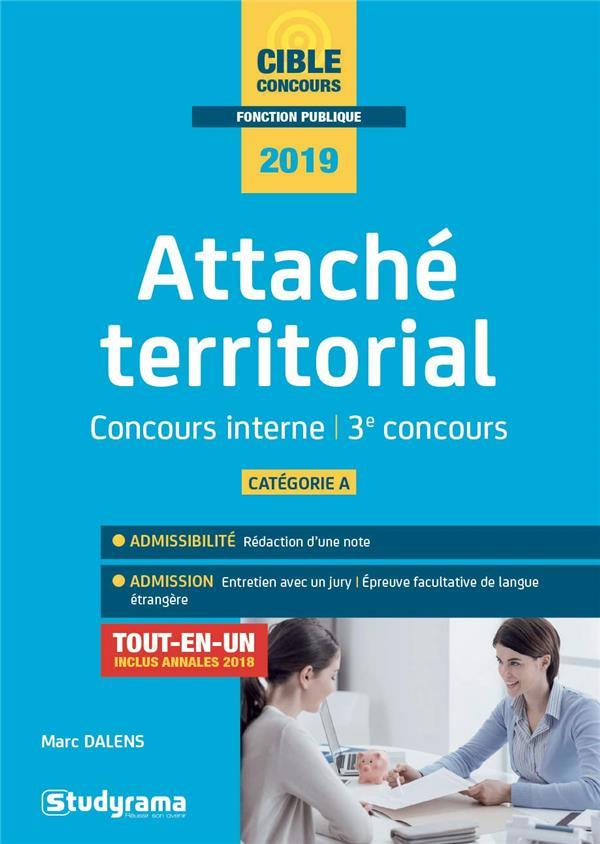 ATTACHE TERRITORIAL CONCOURS INTERNE ET 3E CONCOURS 2019