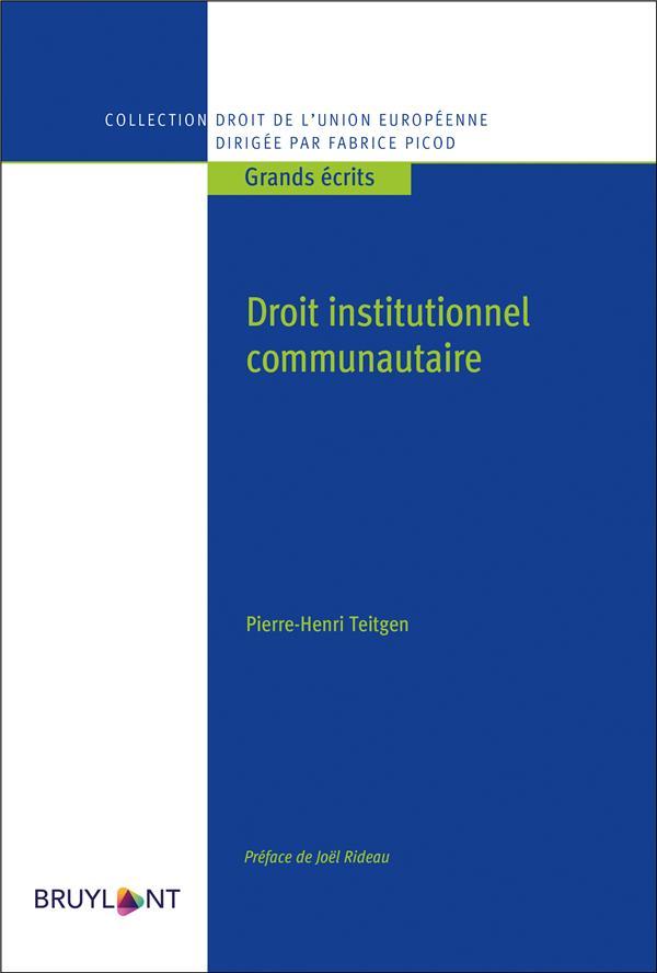 DROIT INSTITUTIONNEL COMMUNAUTAIRE