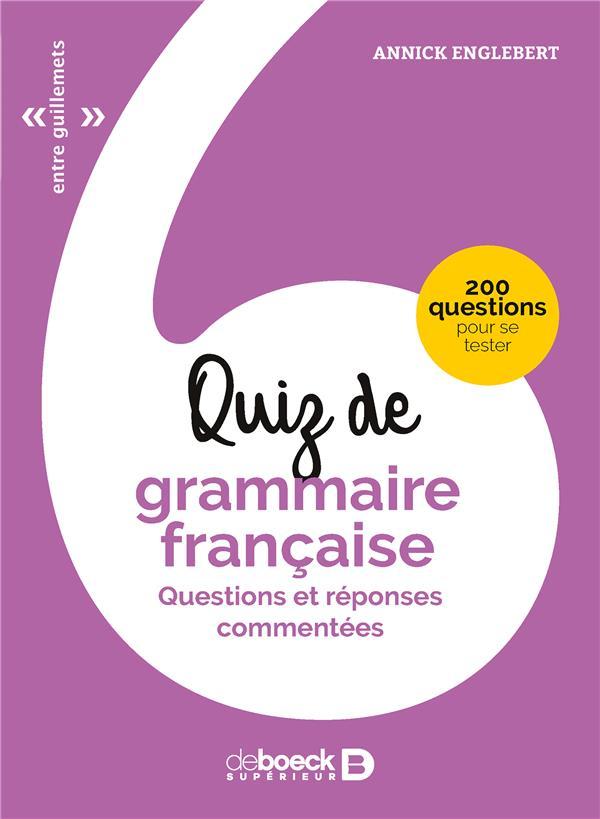 QUIZ DE GRAMMAIRE FRANCAISE