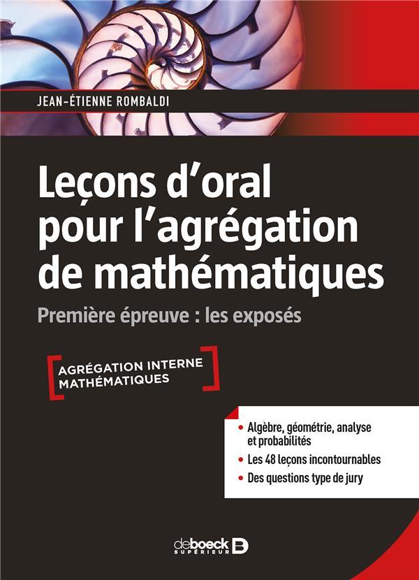 LECONS D'ORAL POUR L'AGREGATION DE MATHEMATIQUES