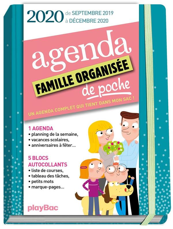 AGENDA DE POCHE DE LA FAMILLE ORGANISEE 2020 - BLEU  (DE SEPT 2019 A DECEMBRE 2020) - S'ORGANISER N'