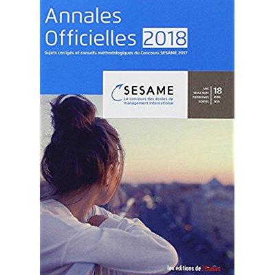 ANNALES OFFICIELLES DU CONCOURS SESAME 2018