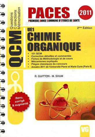 QCM PACES CHIMIE ORGANIQUE UE1