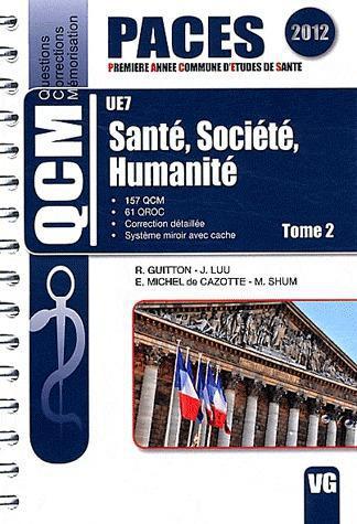 QCM PACES UE7 SANTE SOCIETE HUMANITE TOME 2