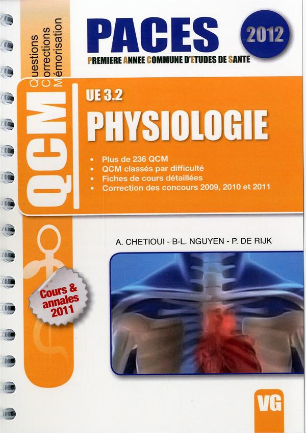 QCM PACES UE 3.2 PHYSIOLOGIE