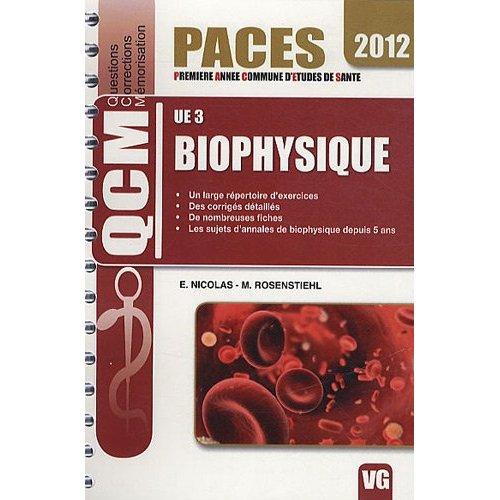QCM UE3 BIOPHYSIQUE
