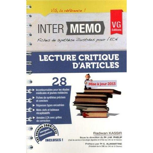 INTER MEMO LECTURE CRITIQUE D'ARTICLE ED 2013