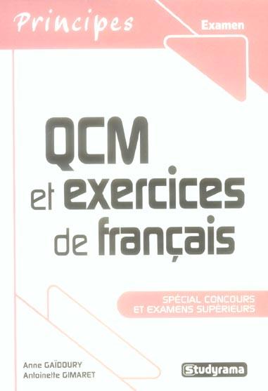 QCM ET EXERCICES DE FRANCAIS