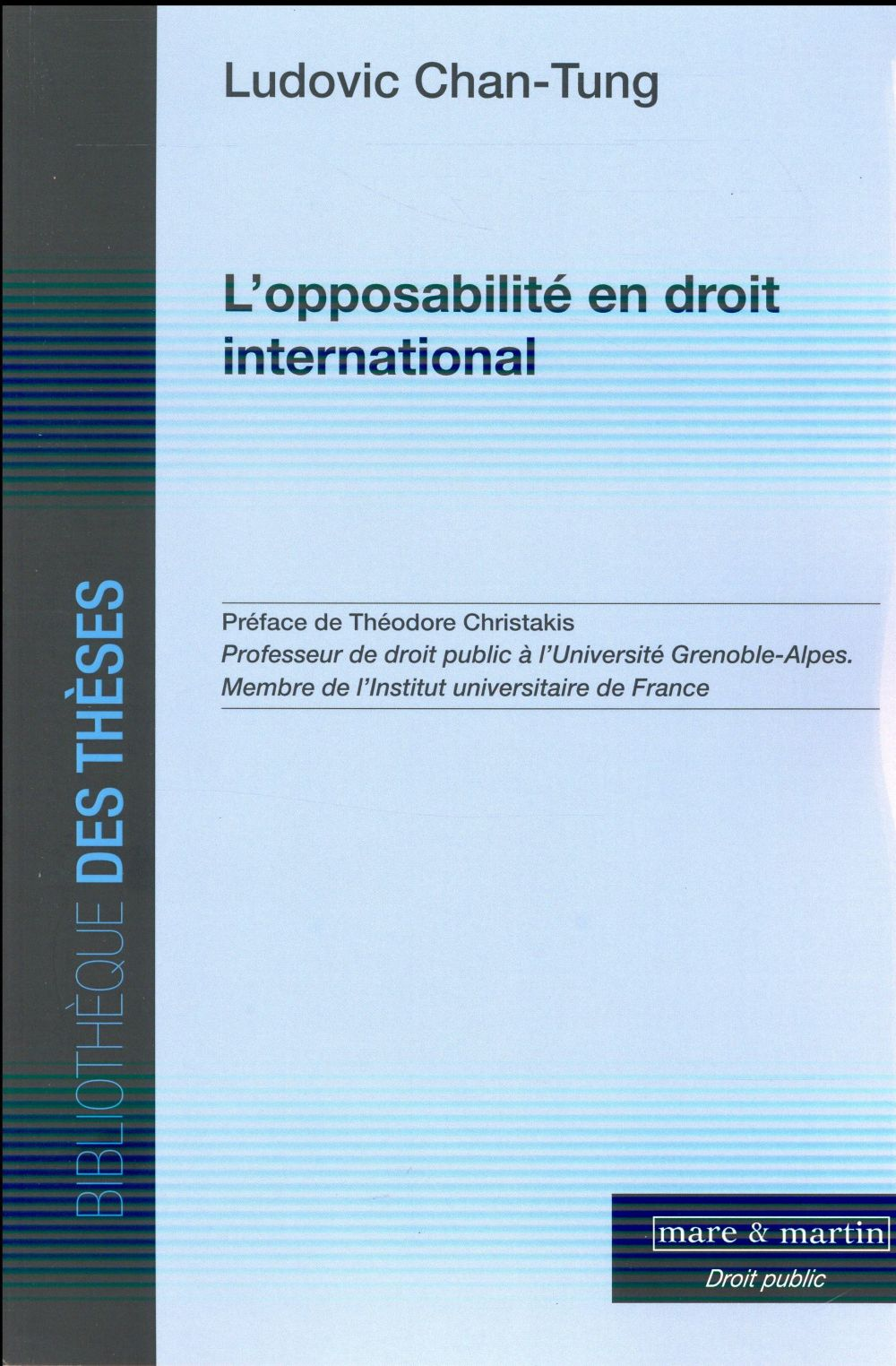 L'OPPOSABILITE EN DROIT INTERNATIONAL