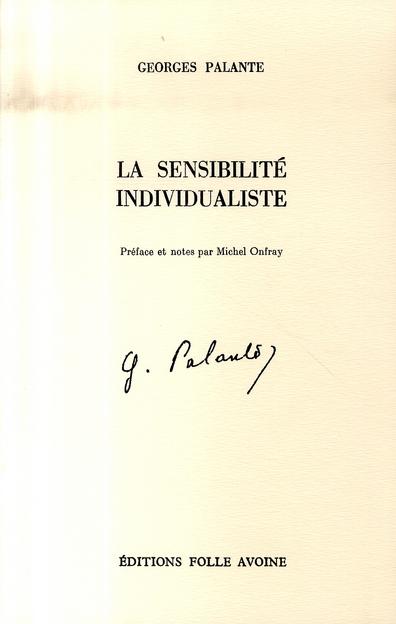 SENSIBILITE INDIVIDUALISTE (LA)