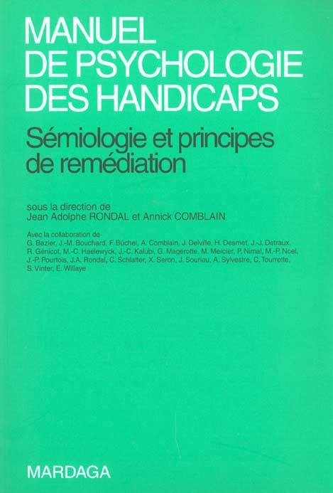 MANUEL DE PSYCHOLOGIE DES HANDICAPS