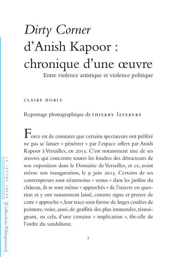 DIRTY CORNER D'ANISH KAPOOR : CHRONIQUE D'UNE OEUVRE - ENTRE VIOLENCE ARTISTIQUE ET VIOLENCE POLITIQ