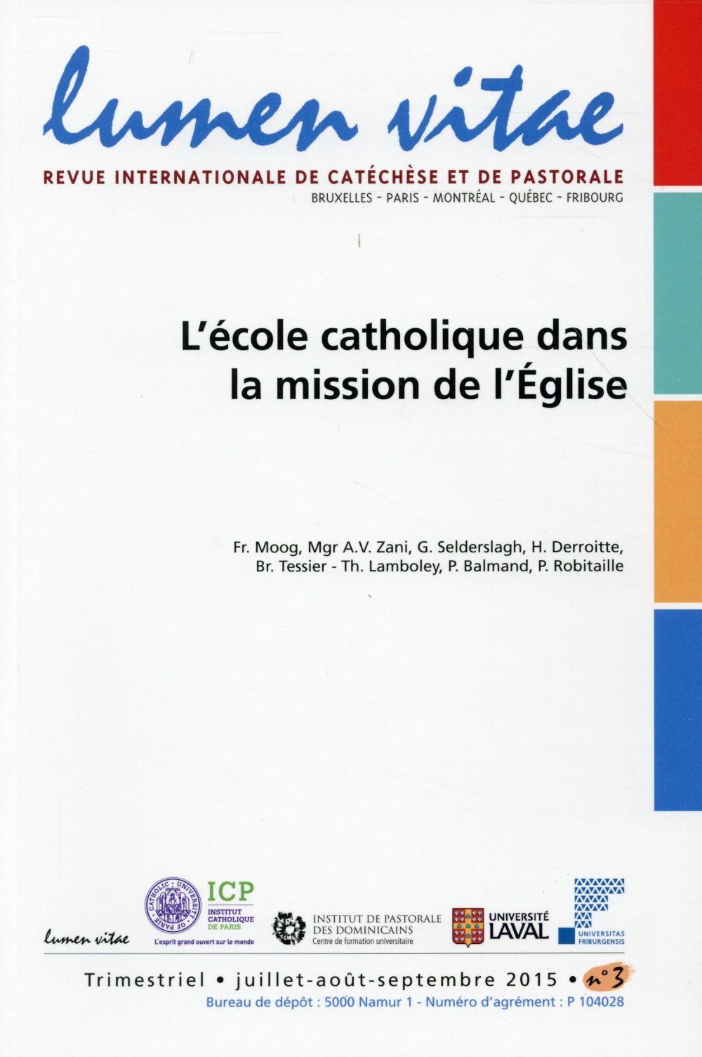 L'ECOLE CATHOLIQUE DANS LA MISSION DE L'EGLISE