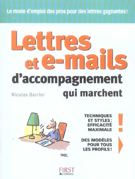LETTRES ET E-MAILS D'ACCOMPAGNEMENT QUI MARCHENT