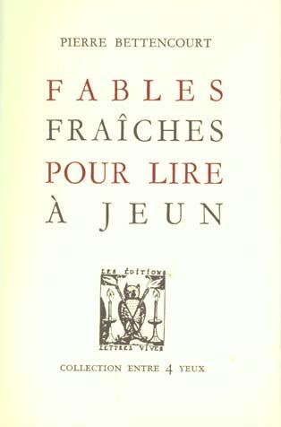 FABLES FRAICHES POUR LIRE A JEUN ANCIENNE EDITION