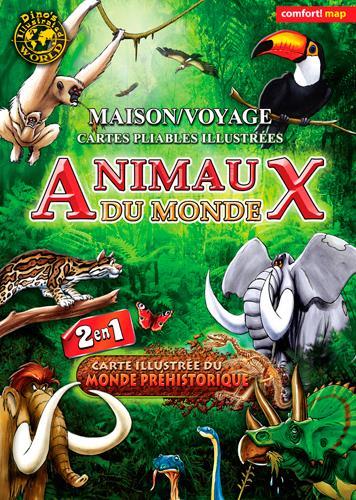 CARTE XXL ANIMAUX DU MONDE POUR ENFANTS (VERSO/MONDE PREHISTORIQUE)