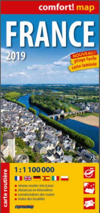 FRANCE 2019 1/1M1 (COMFORT! MAP, CARTE LAMINEE)