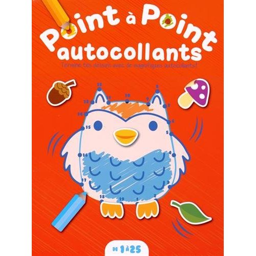 POINT A POINT DE 1 A 25 AUTOCOLLANTS HIBOU